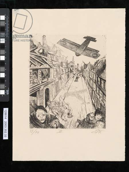 The Bombing of Lens, illustration from the portfolio 'Der Krieg', 1924 (etching & drypoint)