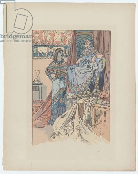 """Illustration from """"Rama"""" by Paul Verola, c.1898 (colour litho)"""