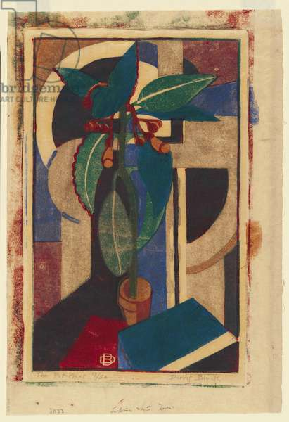 The pot plant, 1933 (colour linocut)