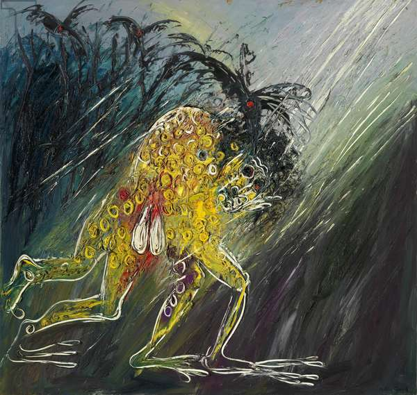 Nebuchadnezzar running in the rain, 1969 (oil on canvas)