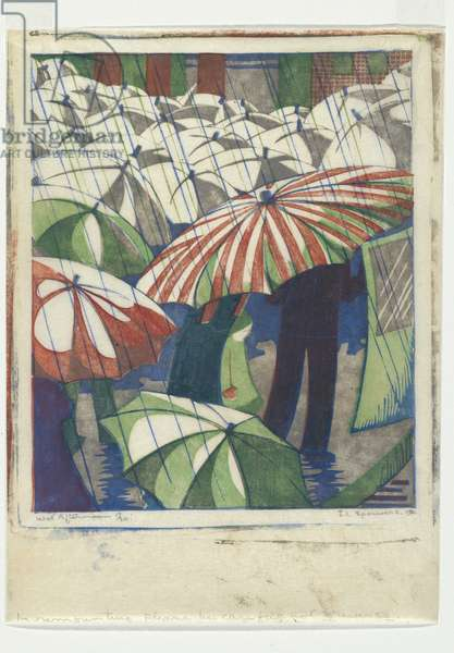Wet afternoon, 1929-30 (colour linocut)