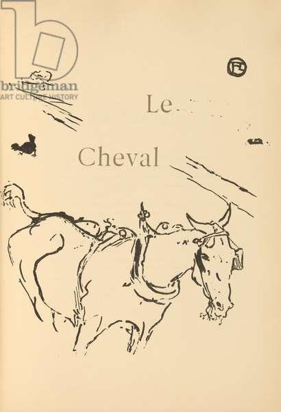 Le cheval, illustration from 'Histoires naturelles' by Jules Renard, 1897 (brush transfer litho)