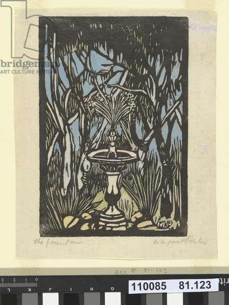 The Fountain, 1932 (hand-coloured woodcut)
