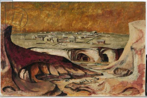Golden Gully, 1949 (oil & ink on canvas on composition board)