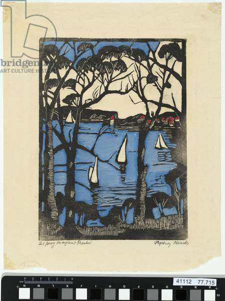 Mosman Bay, Sydney Harbour, c.1927 (hand-coloured woodblock print)