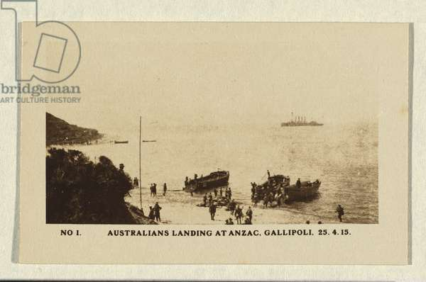 Australians landing at Anzac, Gallipoli, 1915 (gelatin silver photo)