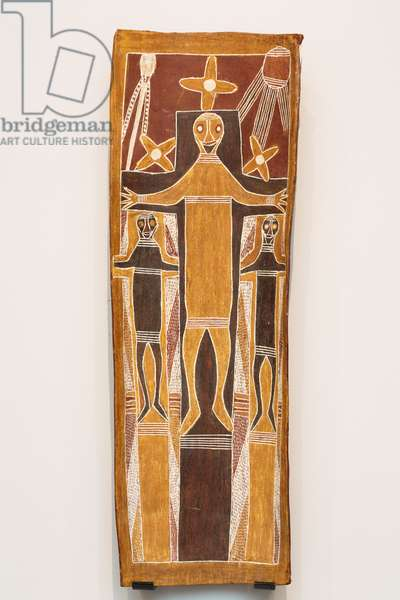The Crucifixion of Jesus Christ, 1965 (natural earth pigments and binder on eucalyptus bark)