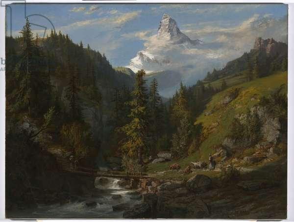 The Matterhorn from Zermatt Valley, 1861 (oil on canvas)