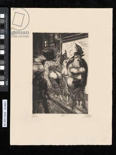 Frontline soldier in Brussels, illustration from the portfolio 'Der Krieg', 1924 (etching, aquatint & drypoint)