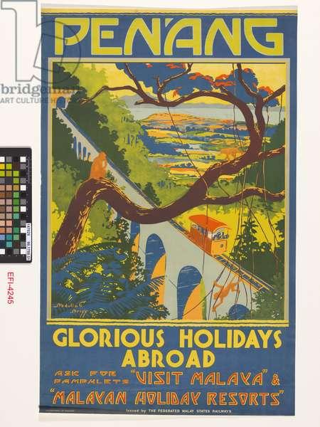 'Penang, Glorious Holidays Abroad', The Federated Malay States Railway', Kuala Lumpur, 1935 (colour litho)