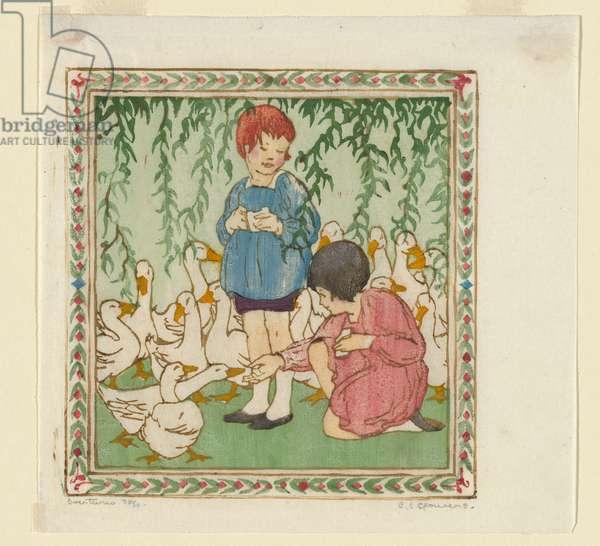 Overtures, 1926 (colour linocut)