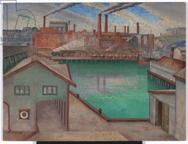 Pyrmont Power Station from Darling Harbour, c.1935 (oil on canvas on composition board)