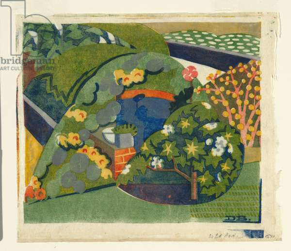 Corner of the garden, c.1936 (colour linocut)