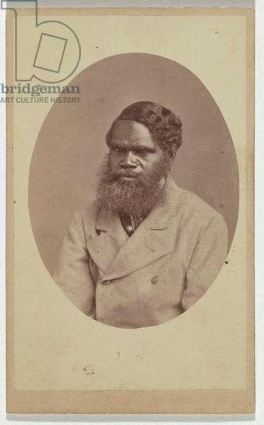 Studio portrait of an Aboriginal man in light coloured jacket, c.1865 (albumen silver photo)