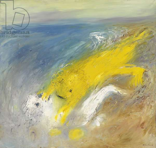 White Nebuchadnezzar and yellow lion on beach, 1968-69 (oil on canvas)