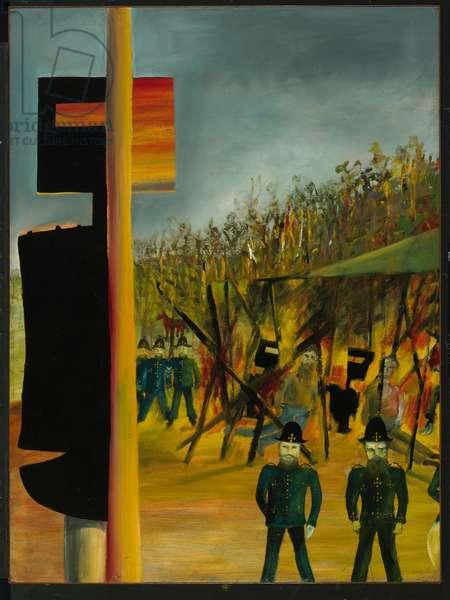 Burning at Glenrowan, 1946 (enamel on composition board)