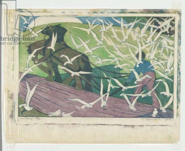 The Plough, 1928 (colour linocut)