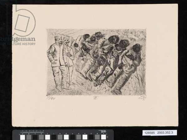 Gas victims, Templeux-La-Fosse, 1916, illustration from the portfolio 'Der Krieg', 1924 (etching, aquatint & drypoint)