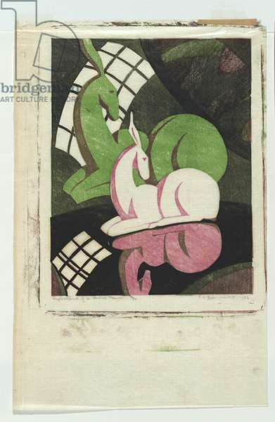 Reflections of a china fawn, 1932 (colour linocut)
