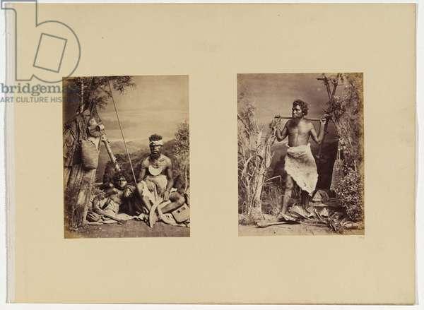 Two aboriginal men and a woman in a studio setting, c.1885 (albumen print)