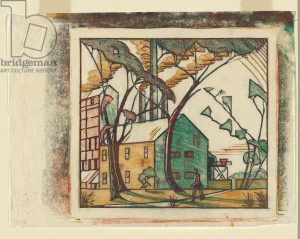 The Factory, 1933 (colour linocut)