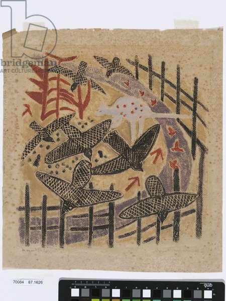 Aboriginal Design, 1943 (hand-coloured woodblock print)