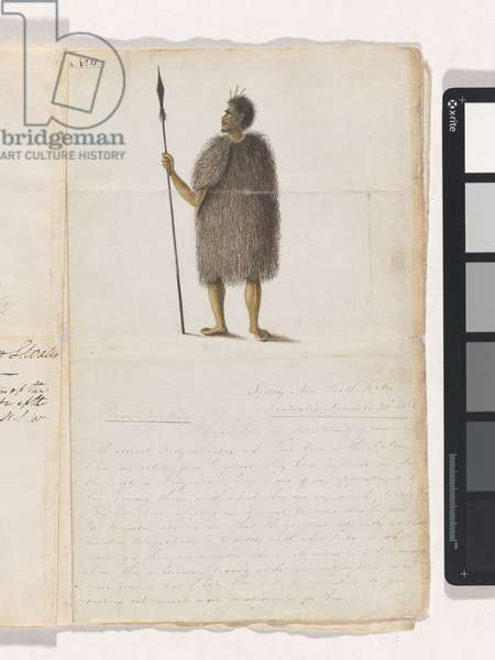 New Zealander, page from a manuscript by Samuel Leigh addressed to the Wesleyan Missionary Society, 1821 (pen & ink on paper)