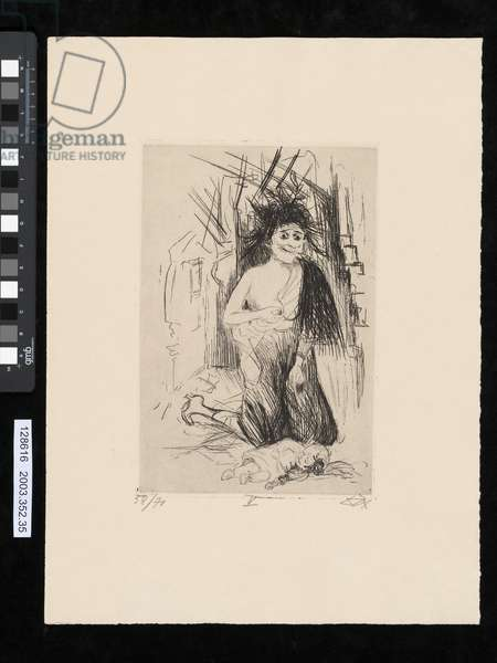 The madwoman of St. Marie-a-Py, illustration from the portfolio 'Der Krieg', 1924 (etching & drypoint)