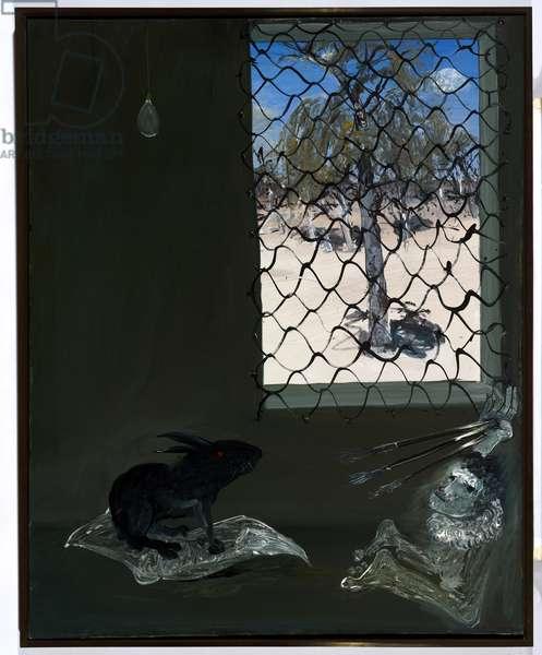 Interior with black rabbit, 1973 (oil on canvas)