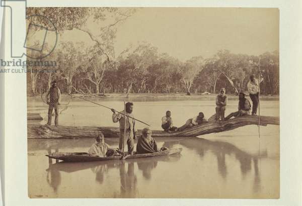 Group of Aboriginals at Chowilla Station, Lower Murray River, 1886 (albumen silver photo)