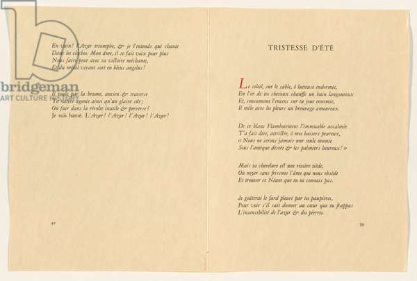Pages 41 and 59 from 'Poésies', 1932 (print)
