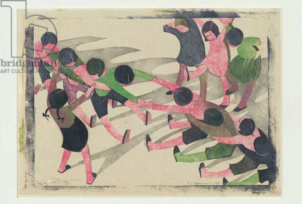 Tug of War, 1933 (colour linocut)
