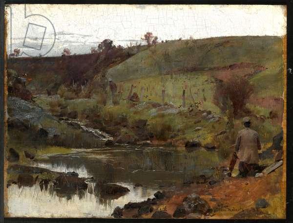 A quiet day on Darebin Creek, 1885 (oil on wood panel)