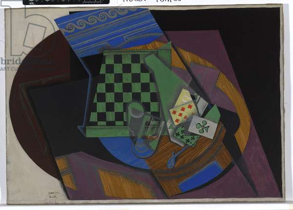 Checkerboard and Playing Cards, 1915 (oil on canvas)