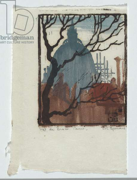 Val de Grace, Paris, 1921 (colour woodcut print)
