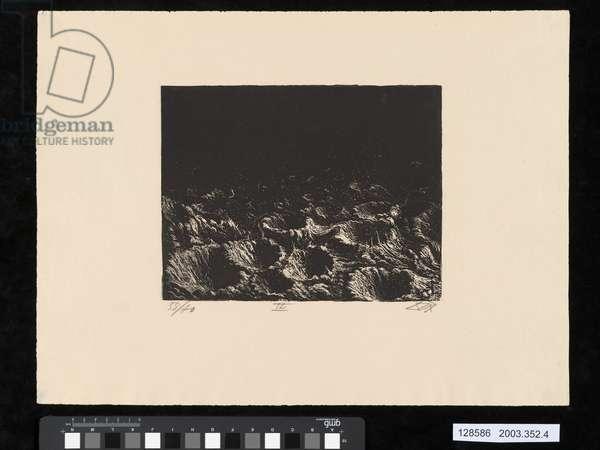 Crater field near Dontrien lit up by flares, illustration from the portfolio 'Der Krieg', 1924 (aquatint)