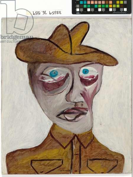 Head of soldier, 1942 (oil & enamel paint on cardboard)