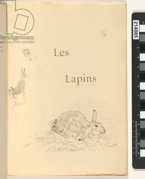 Les Lapins, illustration from 'Histoires naturelles' by Jules Renard, 1897 (brush transfer litho)