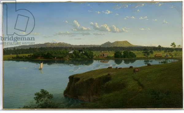 Purrumbete from across the lake, 1858 (oil on canvas)