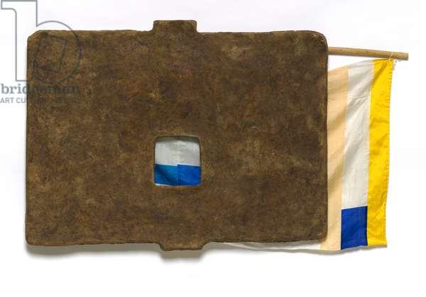 Capitol, from the 'Bones and Unions' series, 1975 (rag-mud, bamboo, silk, string, glass & teakwood)