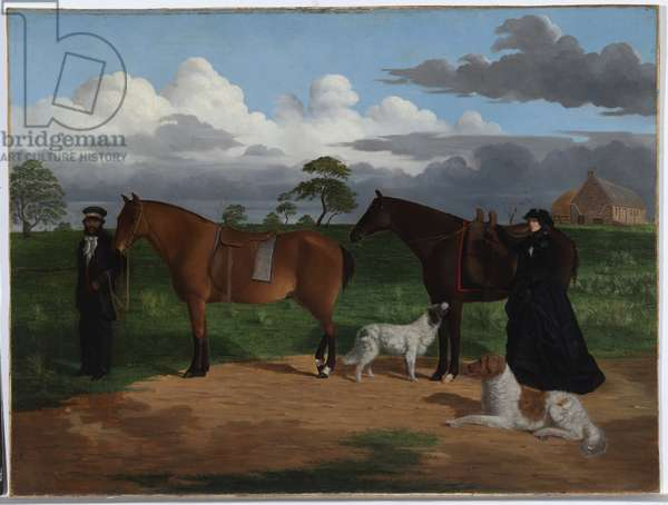 Mrs. Adolphus Sceales with Black Jimmie on Merrang Station, 1855-56 (oil on canvas mounted on plywood)