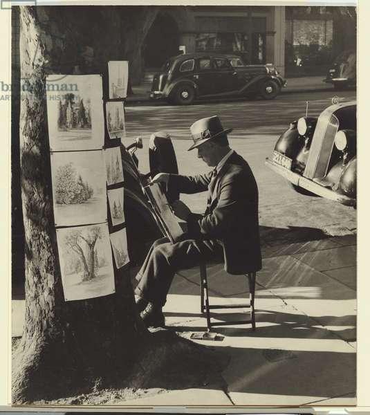 Melbourne - Collins St. pavement artist, 1946 (gelatin silver photo)