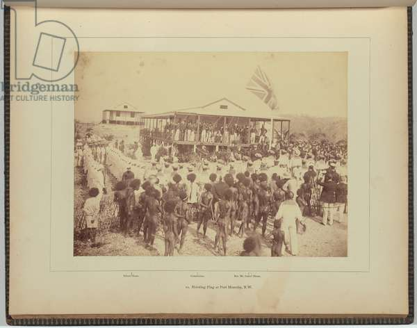 Hoisting Flag at Port Moresby, N.W., 1884 (albumen silver photo)