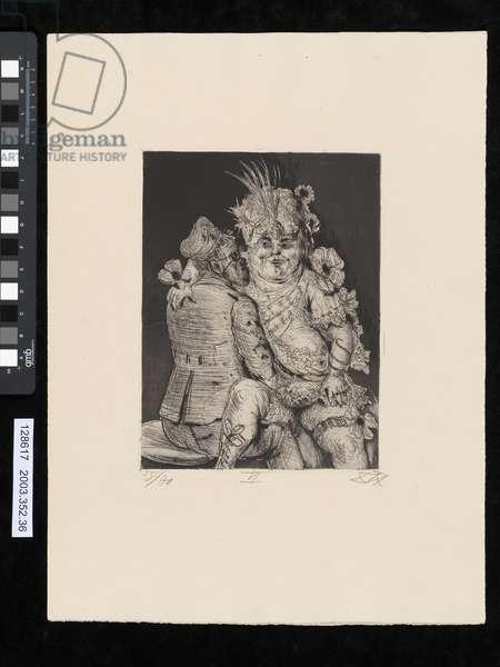 Visit to Madame Germaine at Mericourt, illustration from the portfolio 'Der Krieg', 1924 (etching, aquatint & drypoint)