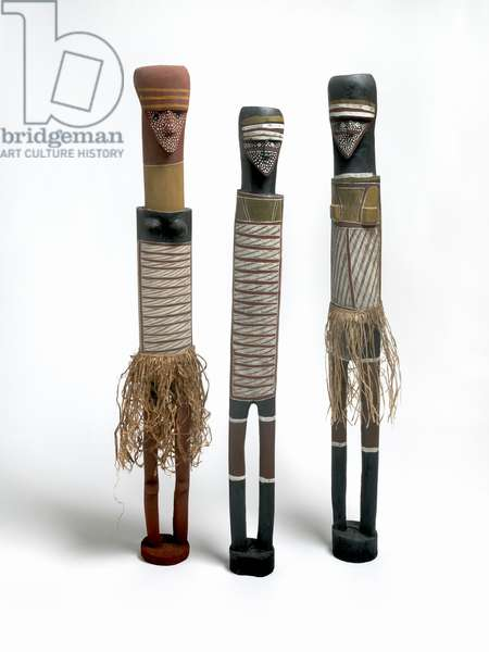 Wagilag Sisters, 1994-95 (natural earth pigments on wood with natural fibre)