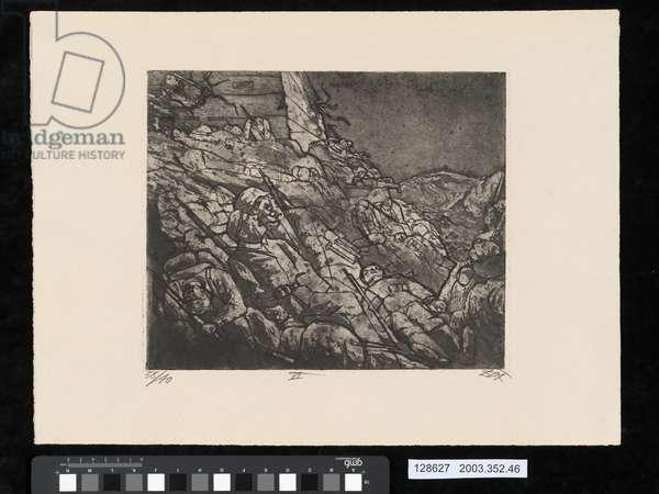 The sleepers of Fort Vaux, illustration from the portfolio 'Der Krieg', 1924 (etching, aquatint & drypoint)
