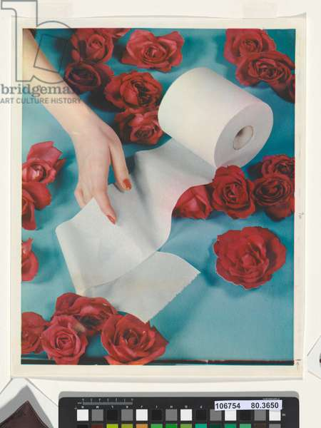 No title (Hand with toilet tissue and red roses), c.1938 (carbro print)