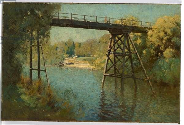 Bridge and wattle at Warrandyte, 1914 (oil on canvas)