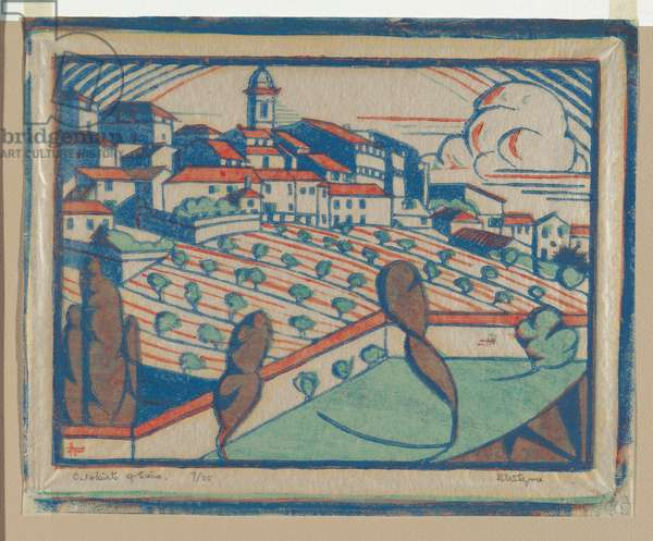 Outskirts of Siena, 1930-31 (colour linocut)