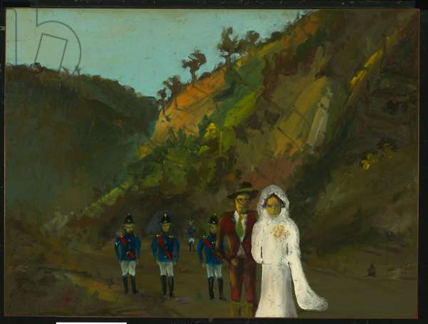 Marriage of Aaron Sherritt, 1947 (enamel on composition board)